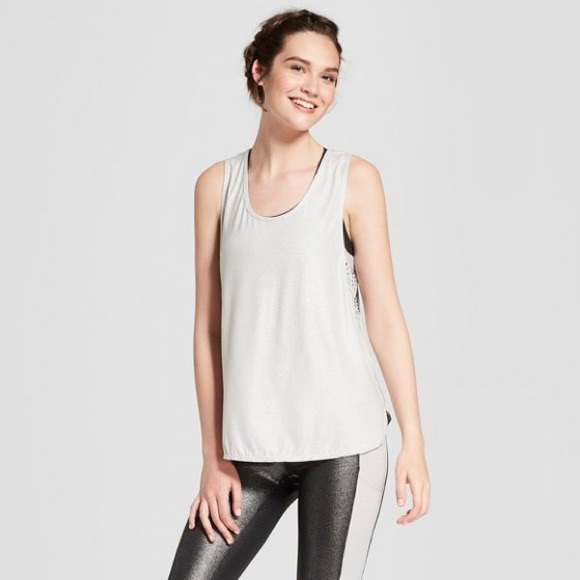 343005341 JoyLab Tops   Womens Muscle Tank Shine Silver Top Xl New   Poshmark